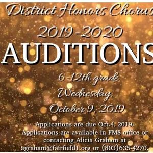 Flyer showing FDHC Auditions on Oct 9th