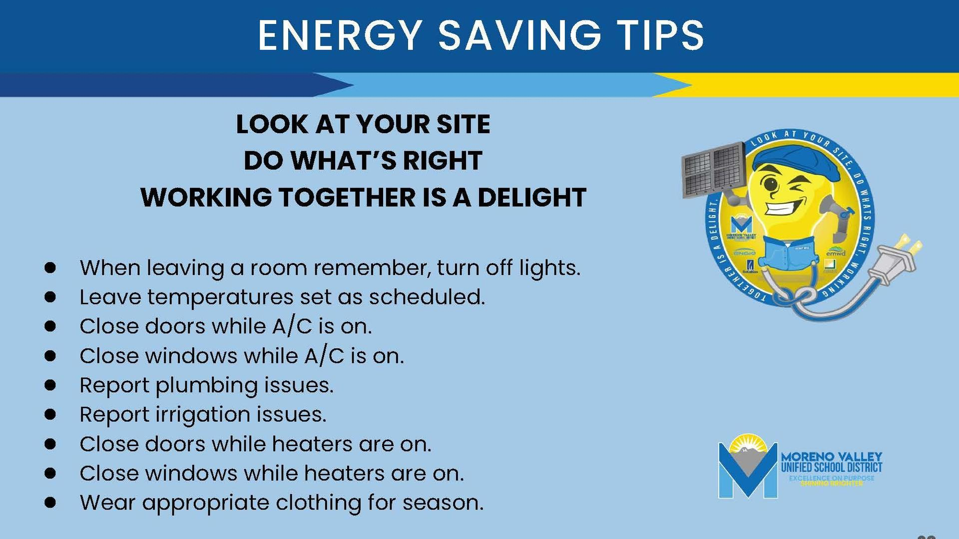 page showing energy saving tips