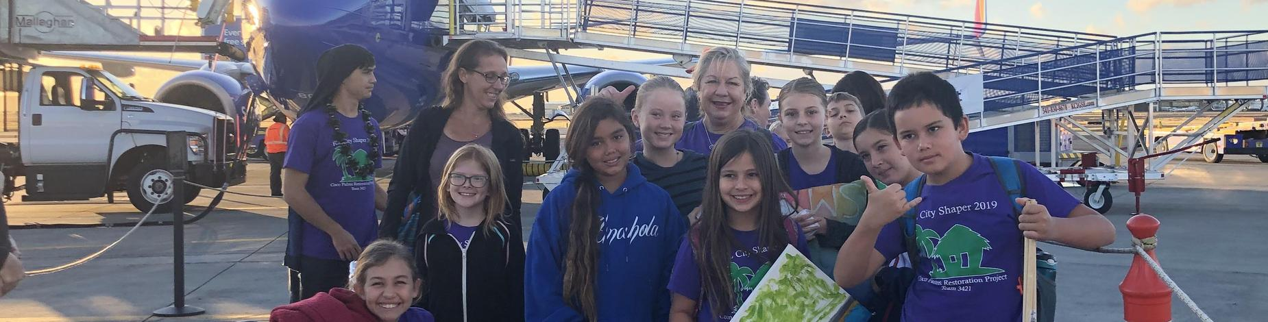 Just off the plane! South West Airlines first flight of the day to Honolulu!