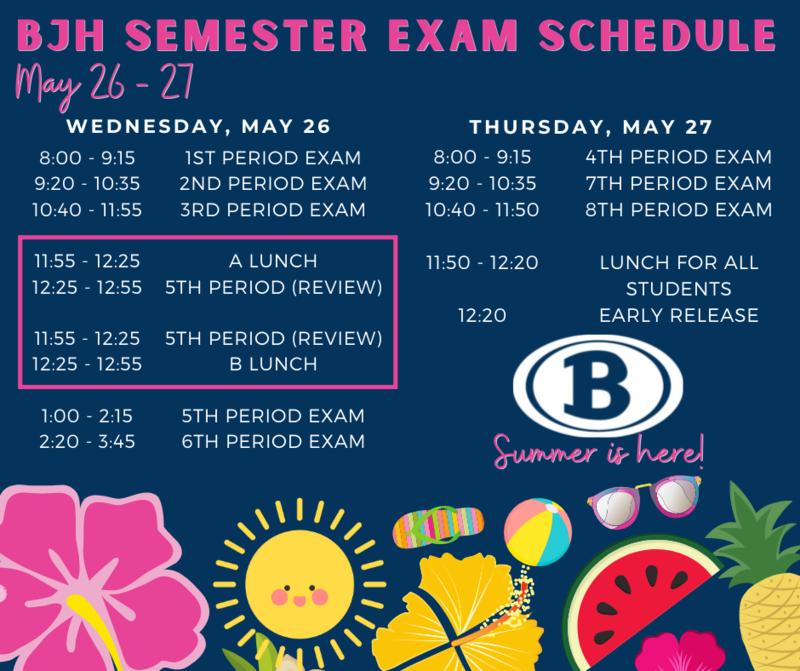 Semester Exam Schedule Featured Photo