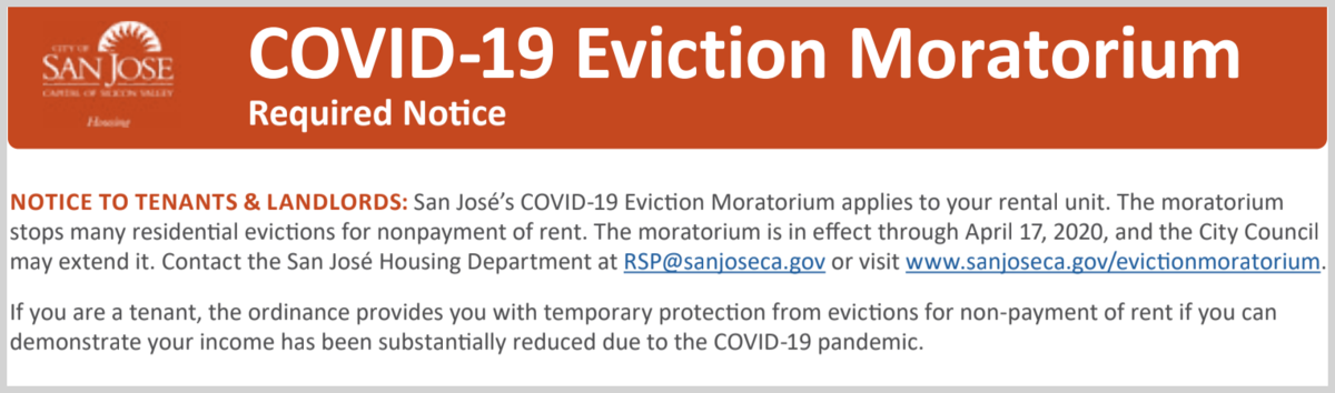 covid19 eviction moratorium from city of san jose