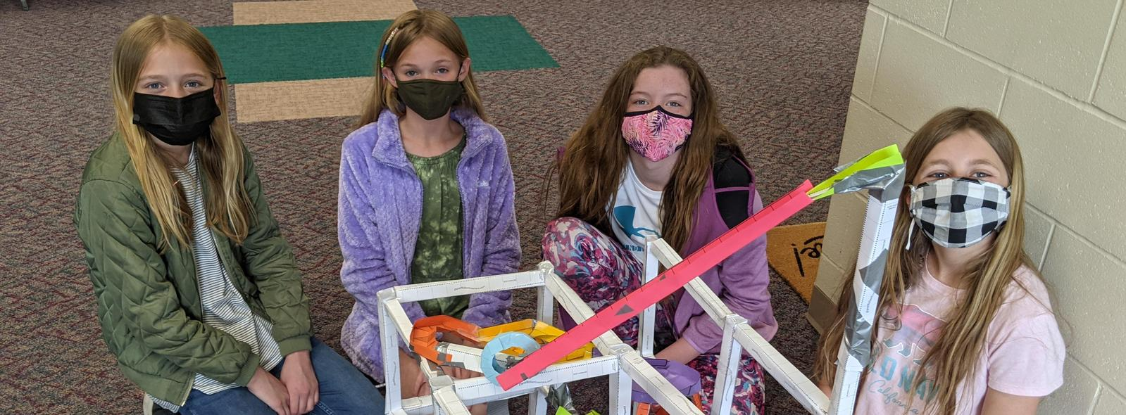 Students by their roller coaster creation