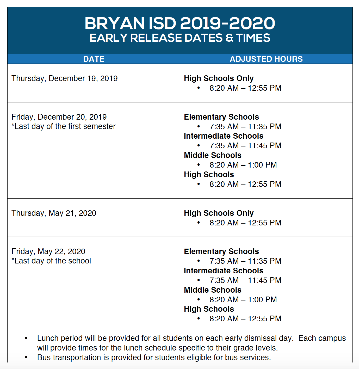 2019-2020 Campus Start/End Times - Miscellaneous - Bryan