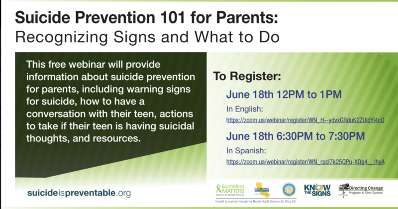 Suicide Prevention 101 for Parents / Prevención del suicidio 101 para padres