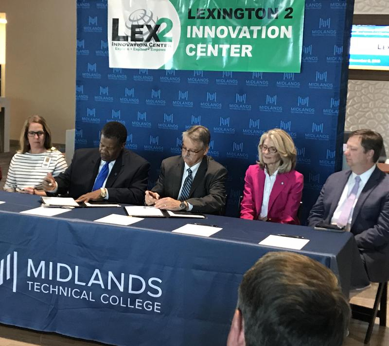 Among those at Wednesday's signing were, from left, Lexington 2 Innovation Center Director Joni Coleman; Midlands Tech President Dr. Ronald Rhames; Lexington Two Superintendent Dr. William James Jr.; Provost Dr. Barrie Kirk; and Lexington Two Chief Instructional Officer Dr. Dixon Brooks.