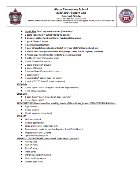 Second Grade 2020-21 Supply List