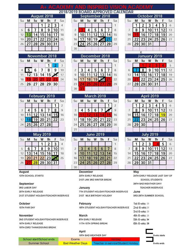 2018/2019 Calendar Thumbnail Image