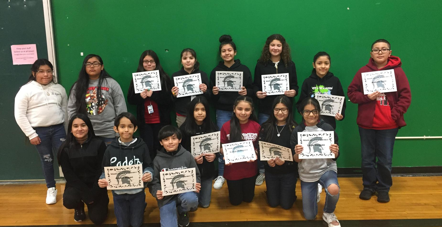 5th Grade Students of Excellence - November, December, and January