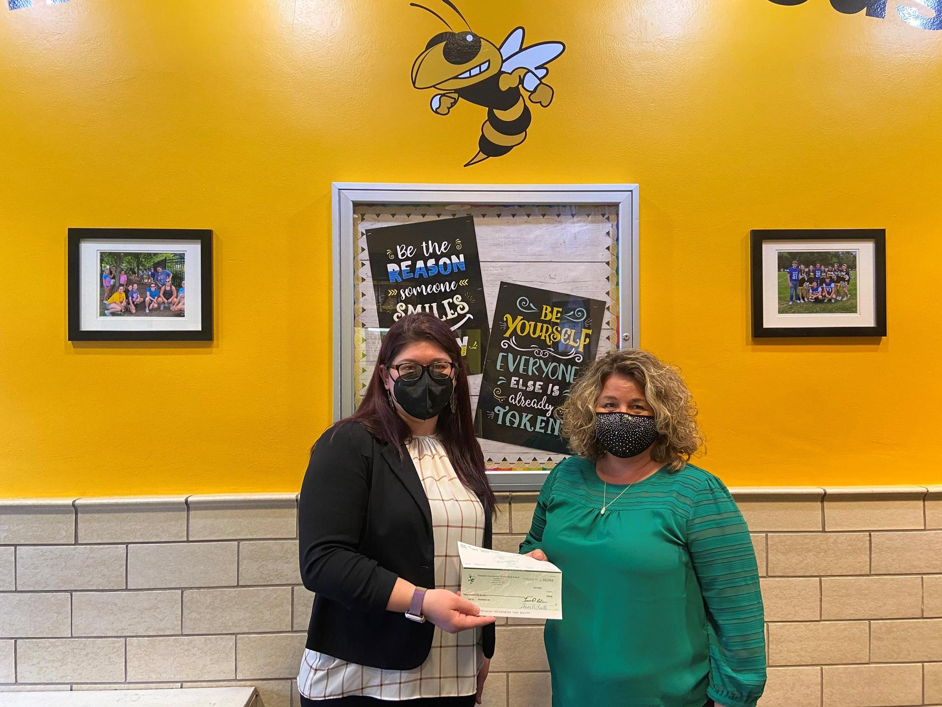 Helping Hands $350 check donation to Beginnings, Inc.