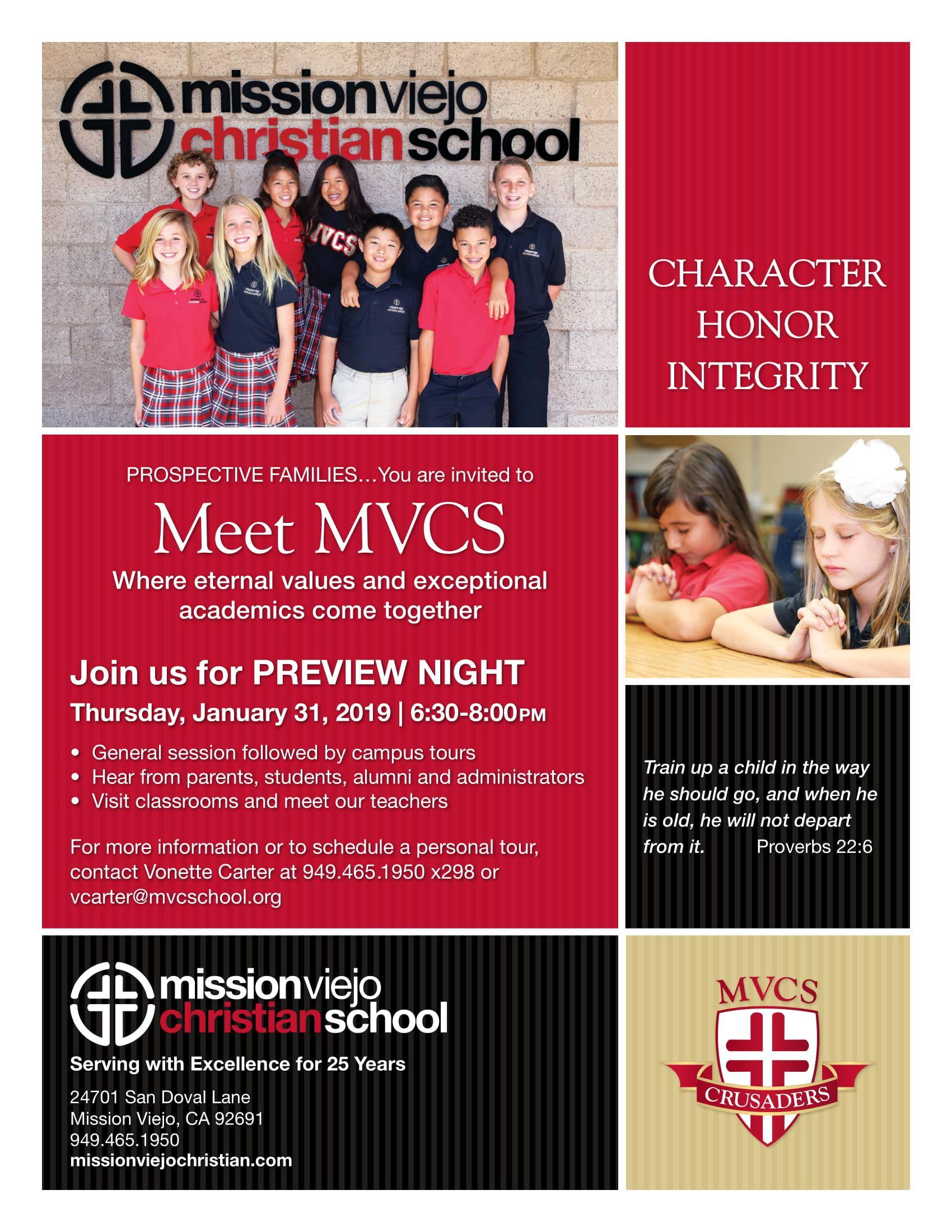 Open House/Preview Night – Admissions – Mission Viejo