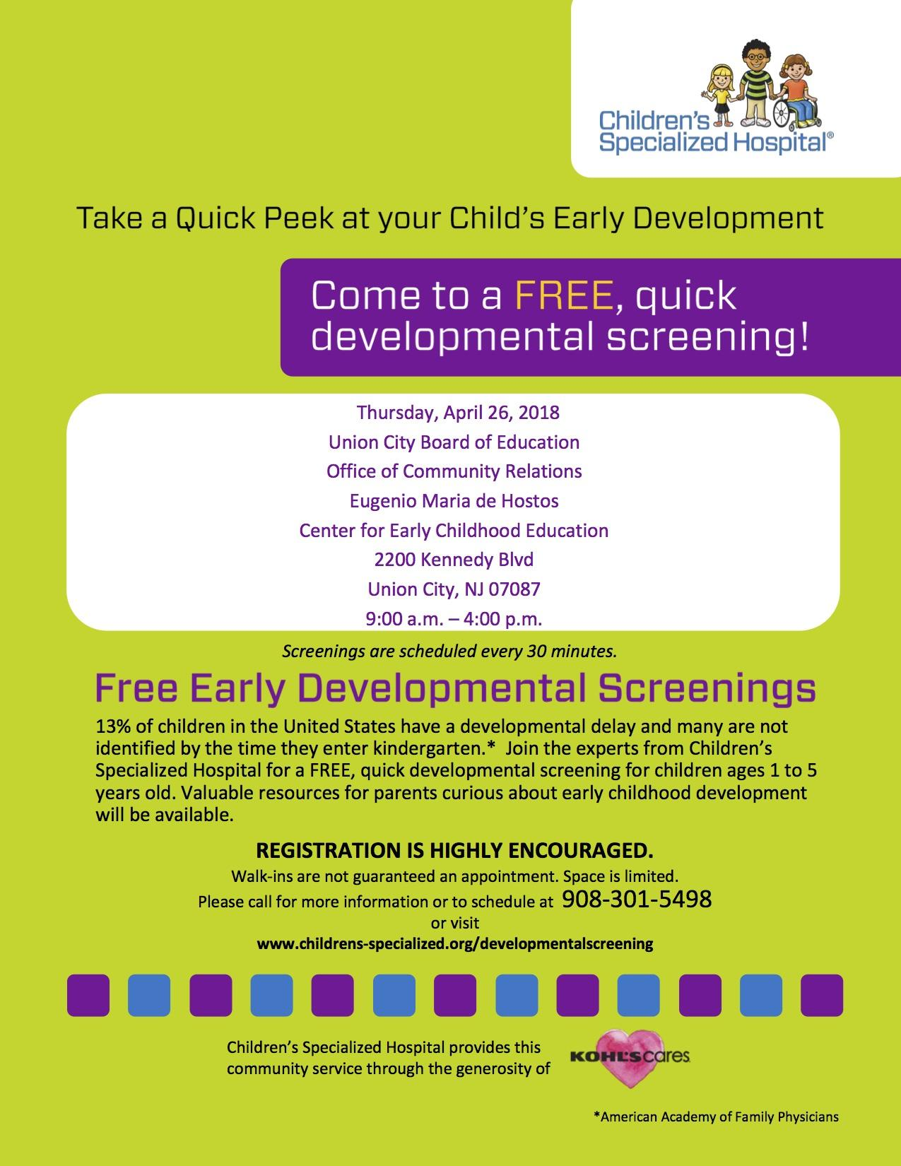 Free Early Development Screening Flyer
