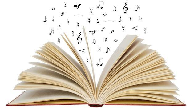 Image of open book with music