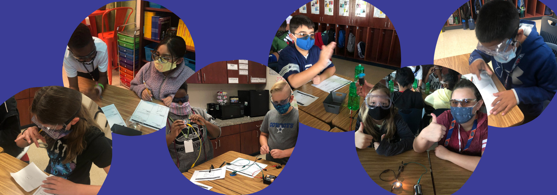 collage of 6 photos showing students busy with science