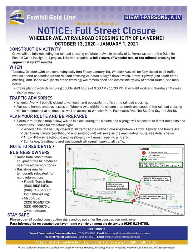 Wheeler Avenue at Railroad Crossing will be fully closed for light rail construction Featured Photo