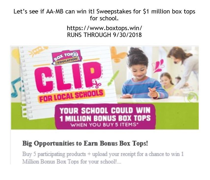 Box Top Sweepstakes