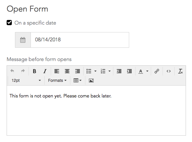 Select form open date