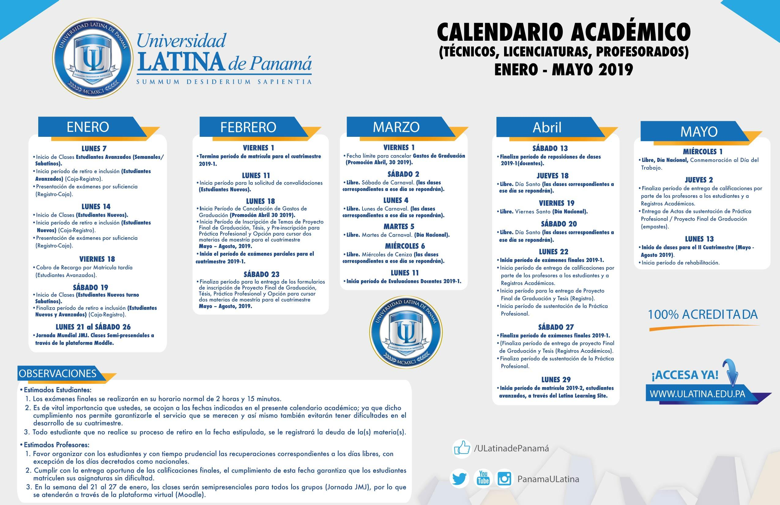 Calendario Escolar 2018 Panama.Calendarios Academicos Vida De Campus Universidad Latina