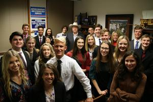 Students in Cecil Bell's office