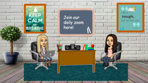 Mrs. Mendez and Creaden in virtual classroom