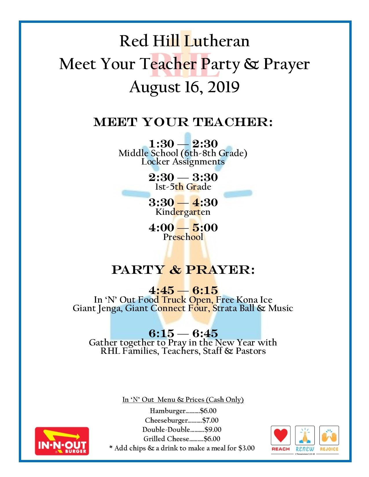 Meet Your Teacher Party and Prayer Poster