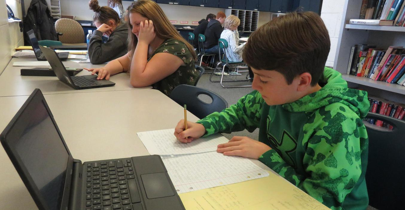 TKMS students work on a career exploration project.