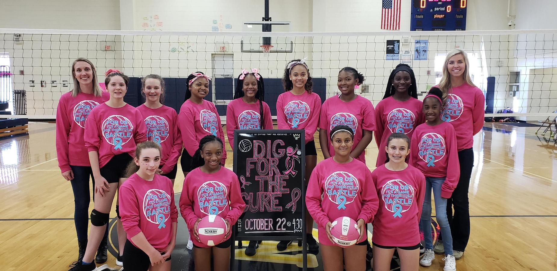 Volleyball team at annual Dig for the Cure match