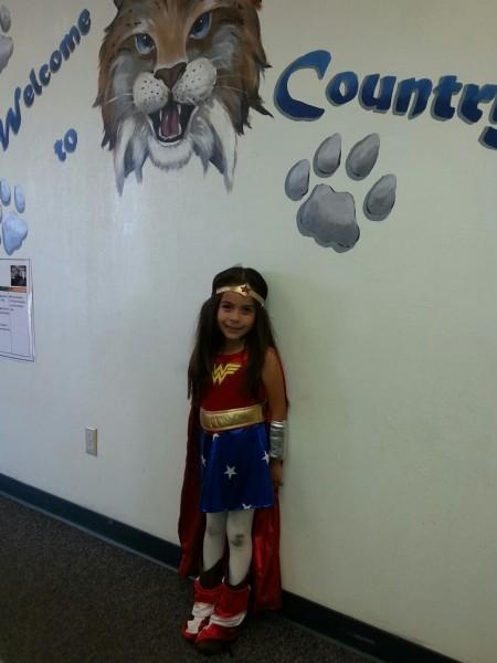 Student in Wonder Woman costume