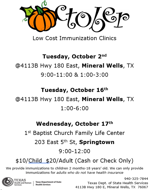 The flyer contains the  word October with the O as a pumpkin, and the words low cost immunization clinic. The dates are for October 2, October 16 and 17. The flyer contains  times and locations for each clinic.