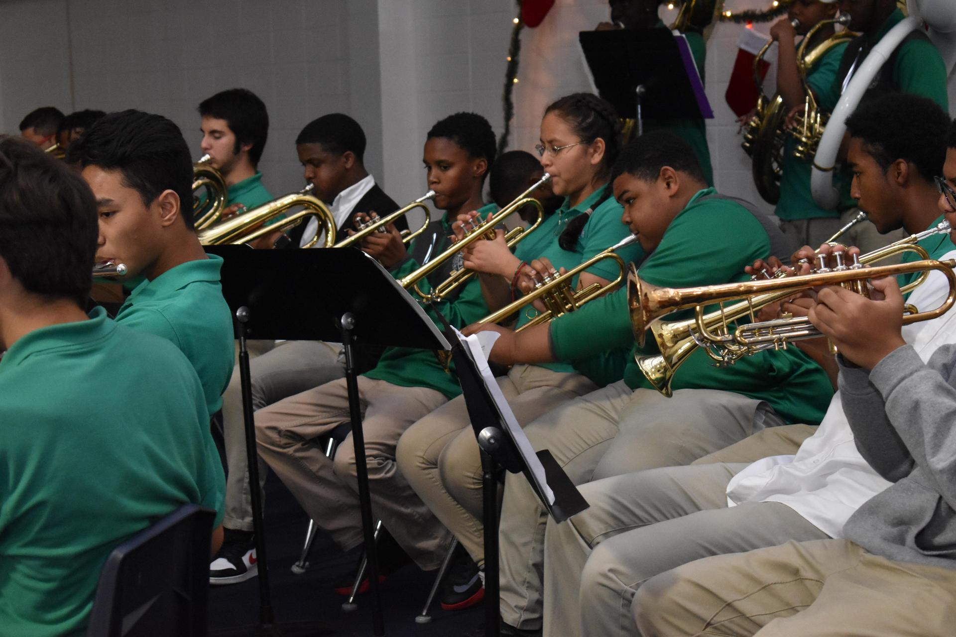 band students playing