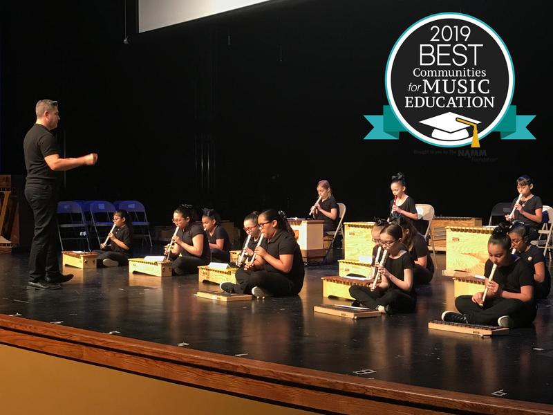Guerra Elementary School students perform in a musical concert directed by their music teacher Alex Requenez during the Edinburg CISD Second Annual Instrumental Festival at Vela High School.