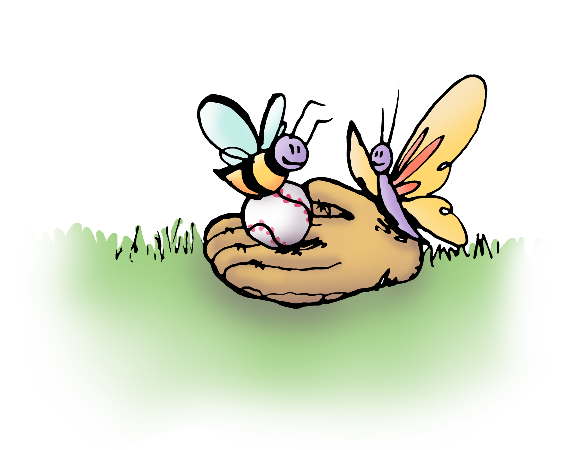 A Mr. See original illustration of a bee and a butterfly perched on a baseball glove in the grass