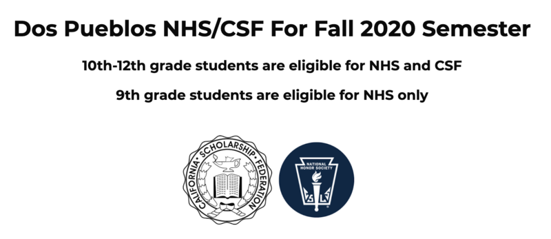 Fall 2020 NHS/CSF Membership Drive is on NOW Featured Photo