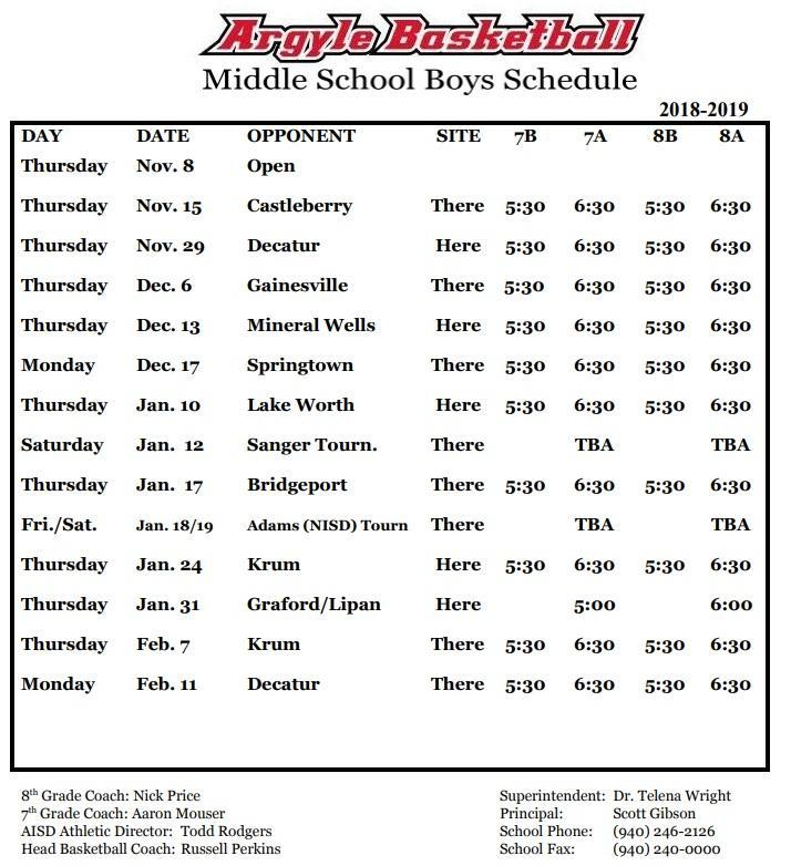 Ams Boys Basketball Middle School Athletics Argyle Independent