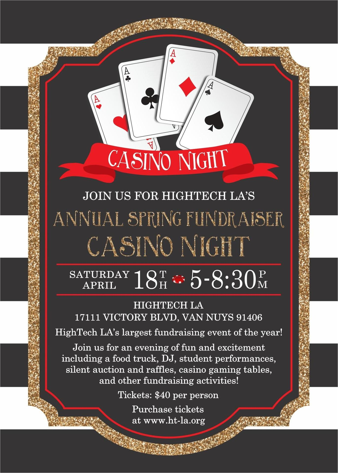 HighTech LA Spring Fundrasier invitation  April 18th 5 PM - 8:30 PM Tickets are $40