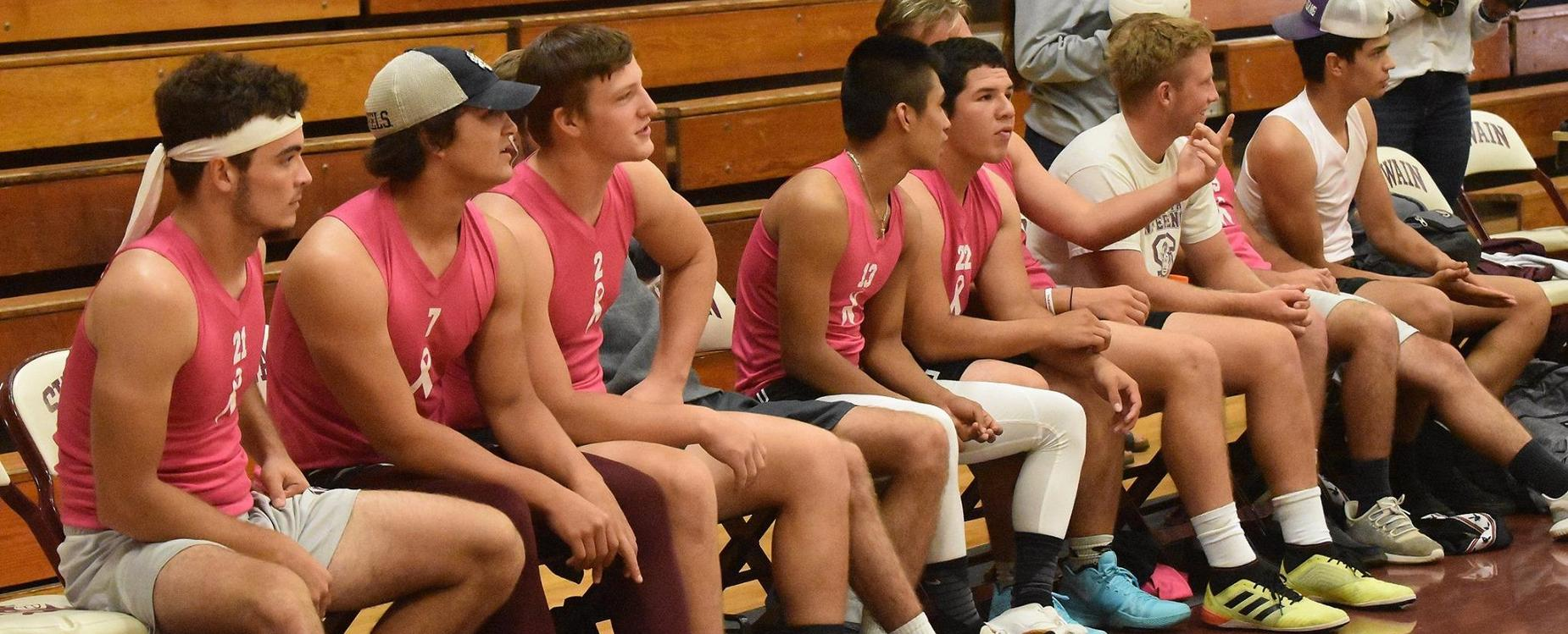 The guys are ready to get volleyball started for homecoming week