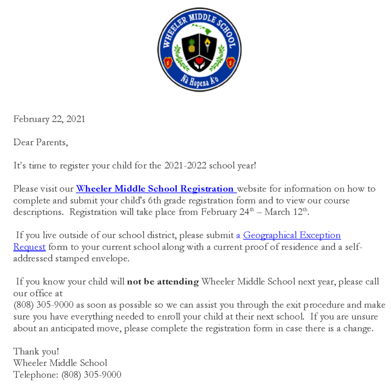 Wheeler Middle School Registration Featured Photo