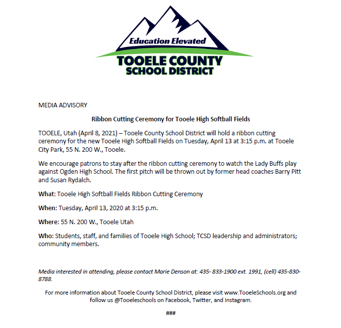 ribbon cutting ceremony for the new Tooele High Softball Fields