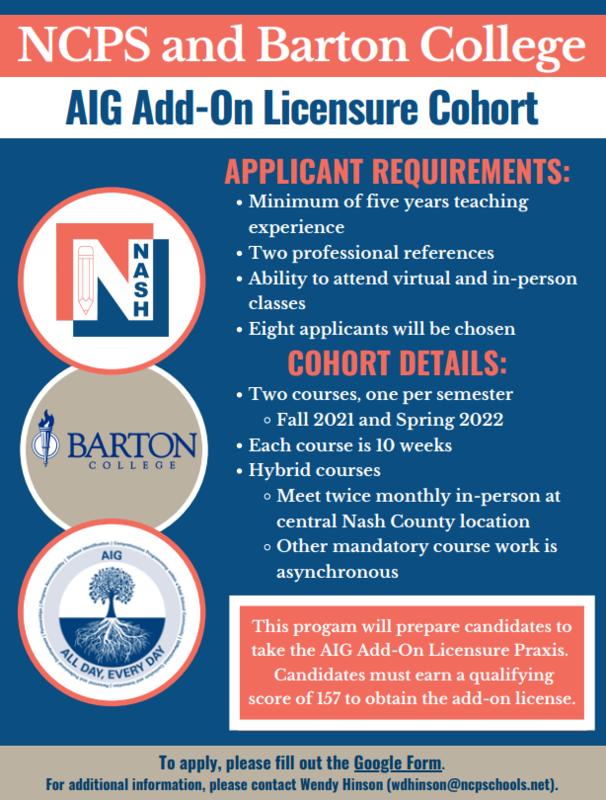 NCPS & Barton College AIG Cohort