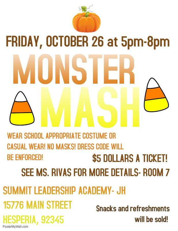 Junior High Monster Mash Dance 7th-8th Grade October 26th, 2018  5 PM - 8 PM Thumbnail Image