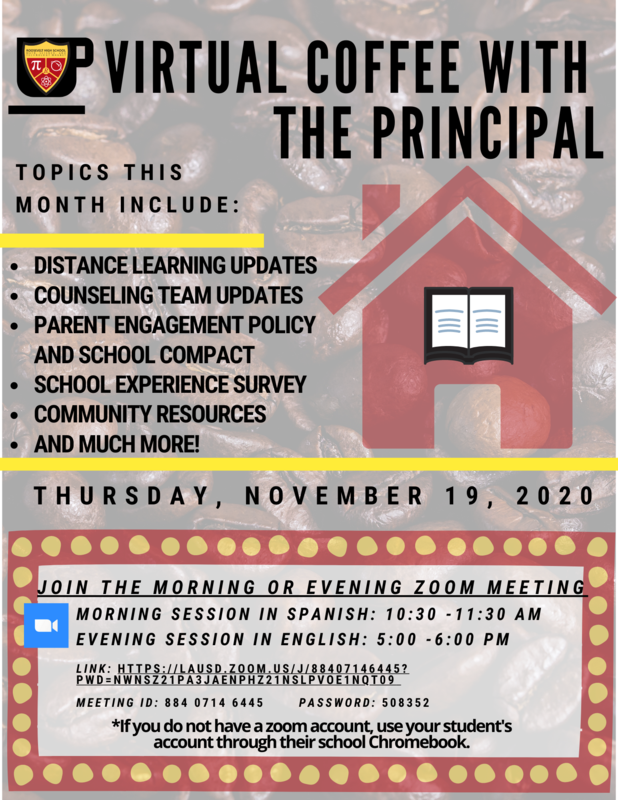 Coffee with the Principal Thursday November 19 - 10:30am (Spanish) & 5pm (English) Featured Photo