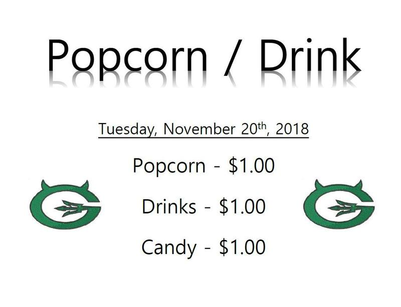 Popcorn, drinks, and candy one dollar each