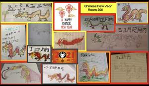 Chinese dragon drawing collage