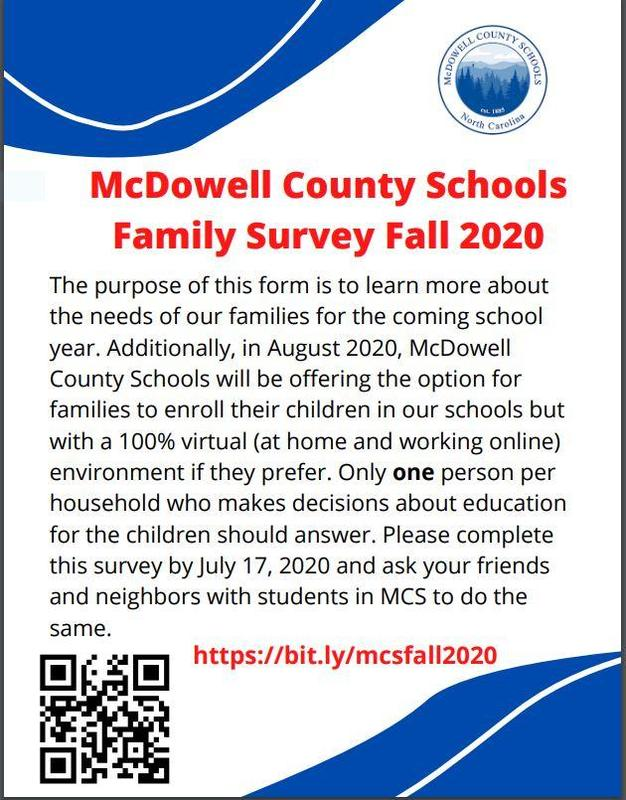 McDowell County Schools Family Survey Fall 2020 - English