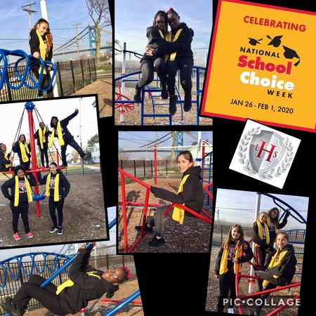 Picture of NSCW dancers on the jungle gym.