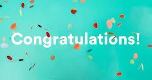 congratulations banner with colored confetti