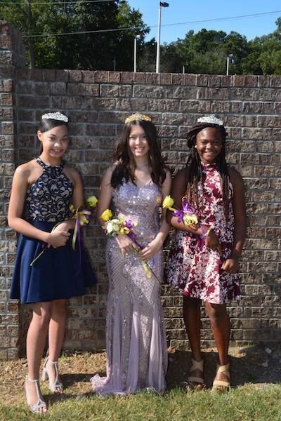Your Homecoming Court princesses (left and right) and queen (middle)