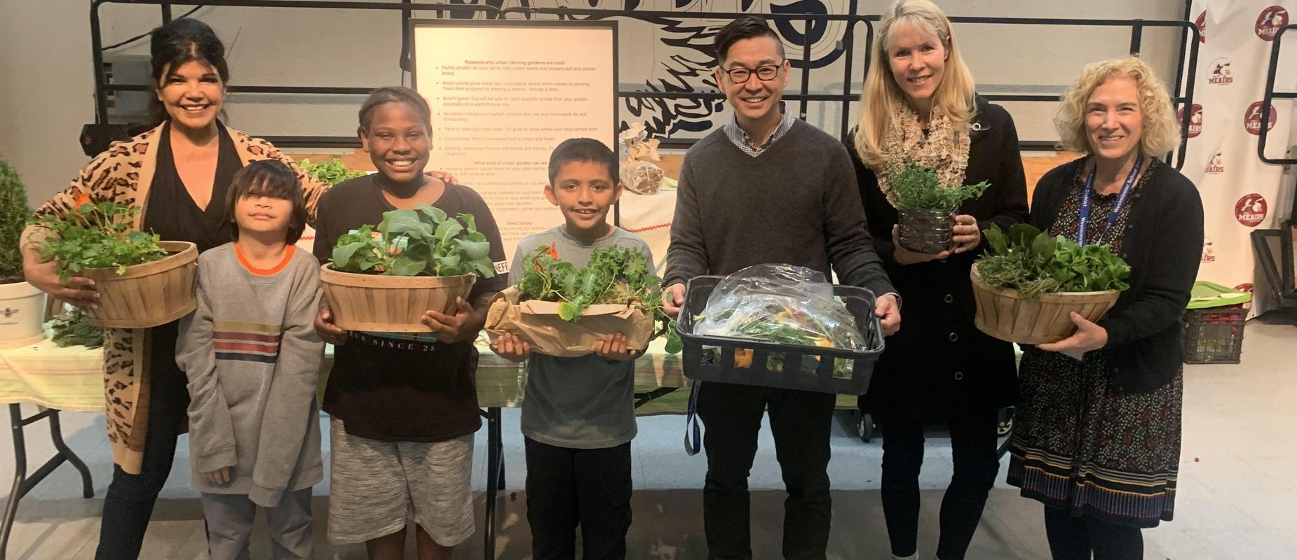 Meairs Elementary School enjoying fresh herbs and vegetables