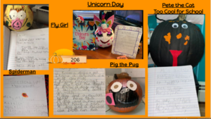 Room 206 pumpkin characters with reports collage