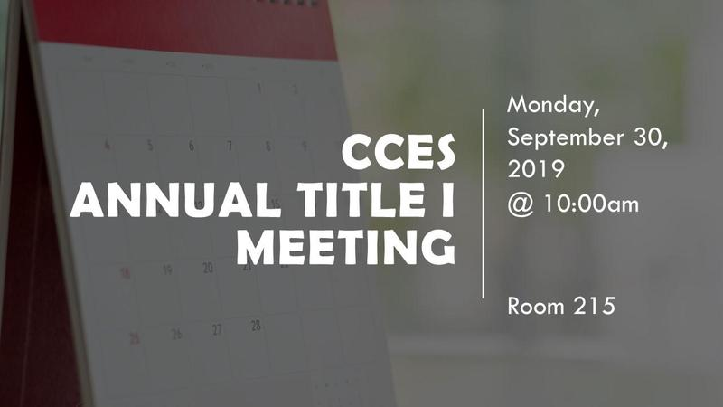 CCES Annual Title I Meeting Featured Photo