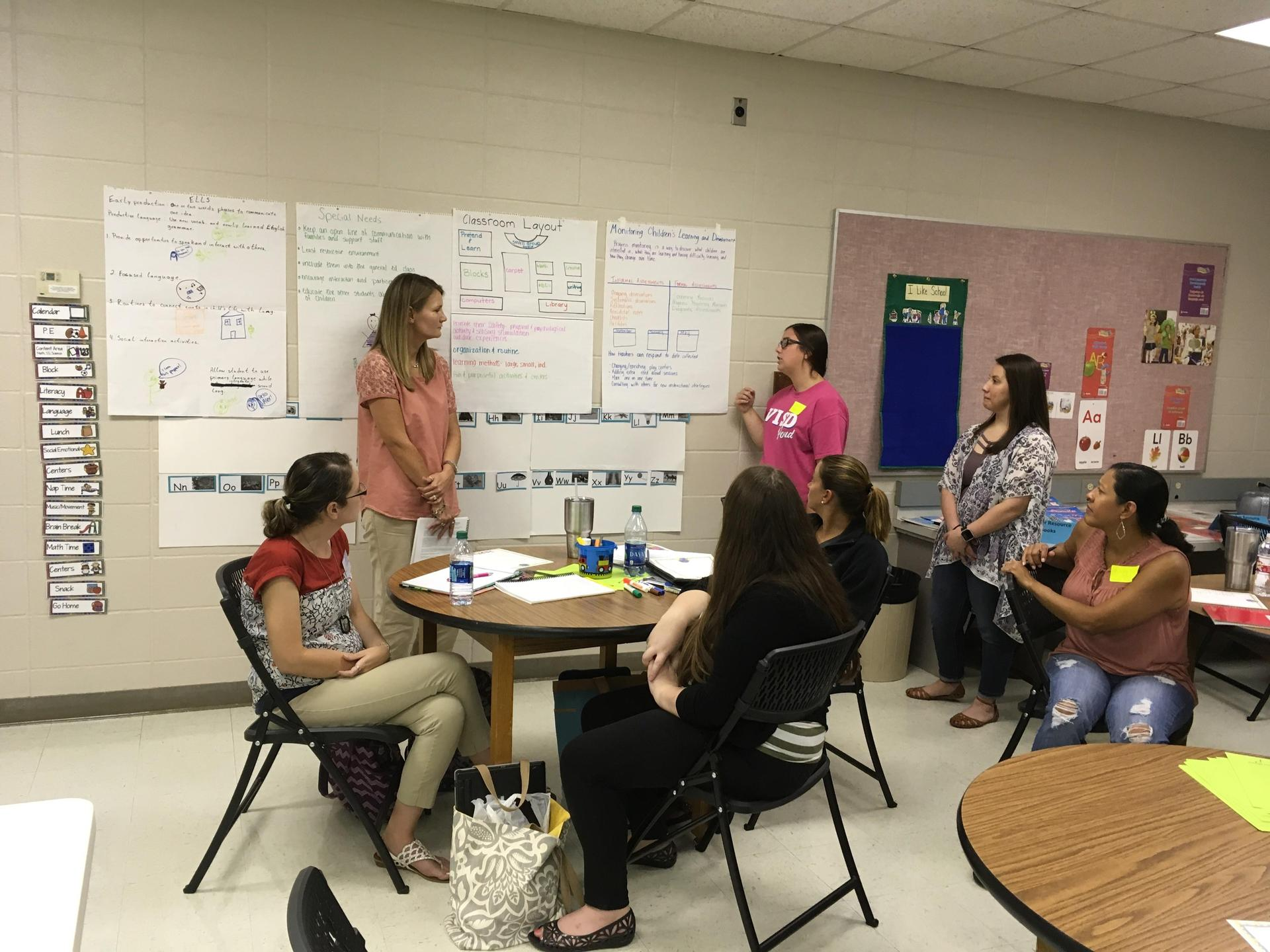 visd pre-k team in plc training before the 2018 school year